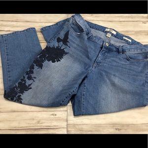 Bird Leaves Design Stretch Crop Jeans A60